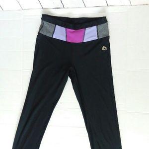 RBX black leggings with purple + grey waistband